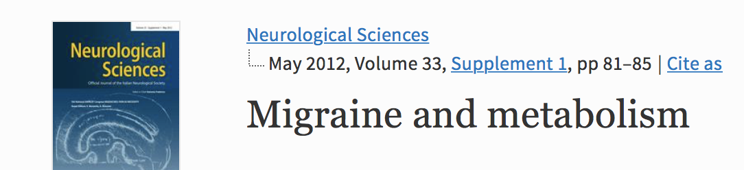 Migraine and metabolism